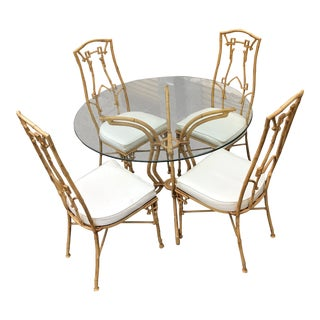 1960s Chinoiserie Faux Bamboo Aluminum Dining Set - 5 Pieces For Sale