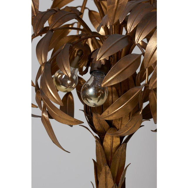 Gold Huge Gilt Metal Palm Tree Floor Lamp by Hans Kögl For Sale - Image 7 of 9