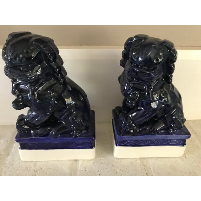 Blue 20th Century Traditional Dark Blue Foo Dogs - a Pair For Sale - Image 8 of 8