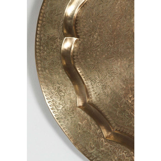Anglo-Indian Anglo-Indian Round Brass Tray Wall Hanging For Sale - Image 3 of 10