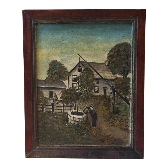 19th Century Folk Art Oil on Canvas Painting - Image 1 of 7