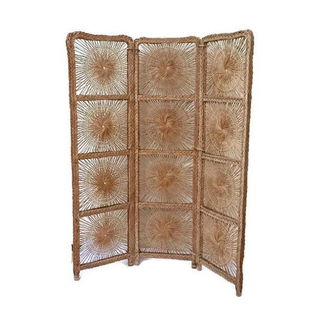 Mid Century Modern Rattan Folding Screen 3 Panel Room Divider Boho Headboard For Sale - Image 10 of 11