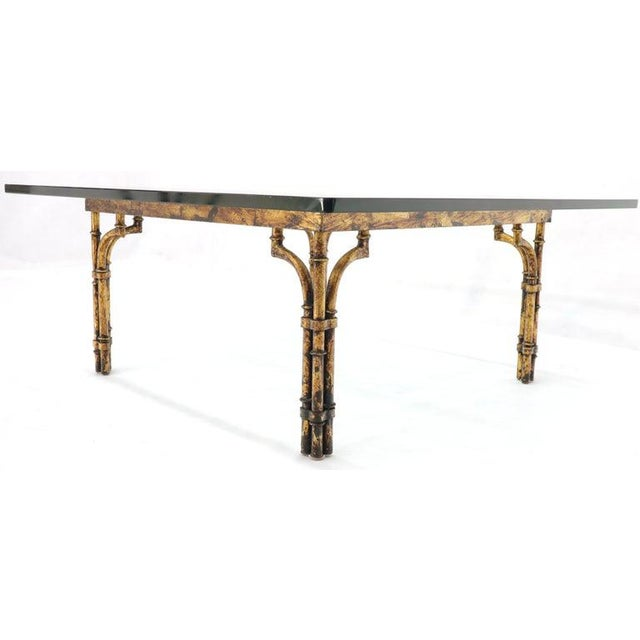 Faux Bamboo Gold Gilt Frame Square Glass Top Coffee Table For Sale - Image 9 of 12