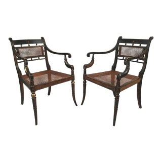 Pair of English Regency Period Neoclassical Armchairs