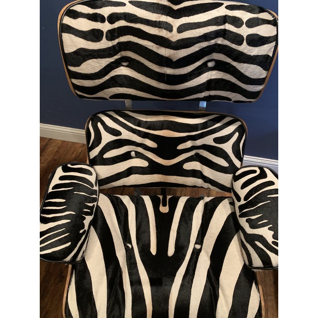 Modern Custom Zebra Hide Eames Style Lounge Chair and Ottoman For Sale - Image 9 of 12