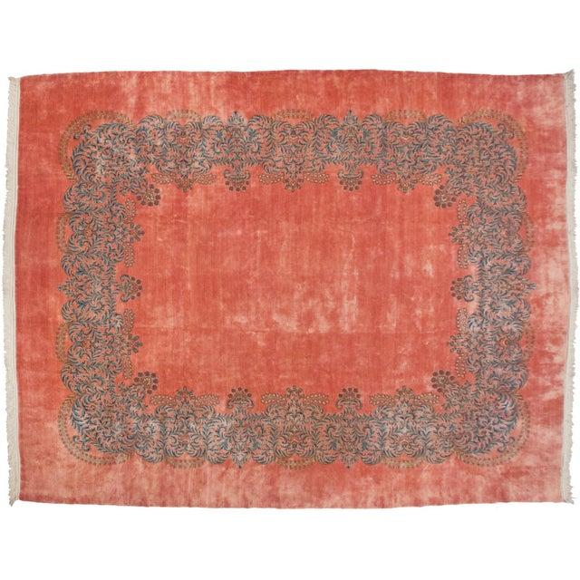 """Pink Vintage Fine Kerman Carpet - 11'3"""" X 14'2"""" For Sale - Image 8 of 8"""