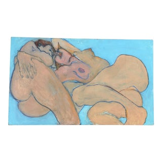 Vintage Double Nude Figure Painting For Sale