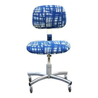 Vintage Chrome SteelCase Task Chair With Abstract Fabric For Sale
