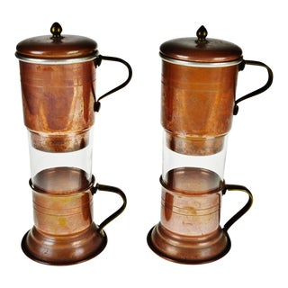 Vintage Beucler Copper and Brass Individual Tea Pot and Tea Cup Set - a Pair
