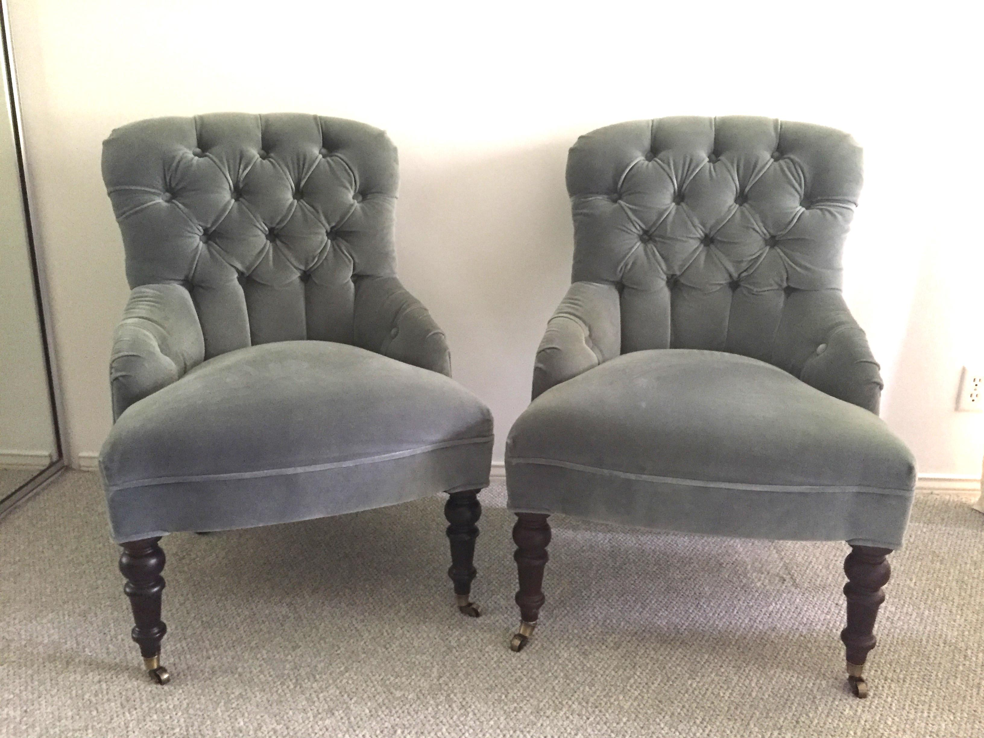 Mitchell Gold + Bob Williams Gloria Velvet Tufted Accent Chairs   A Pair    Image 2