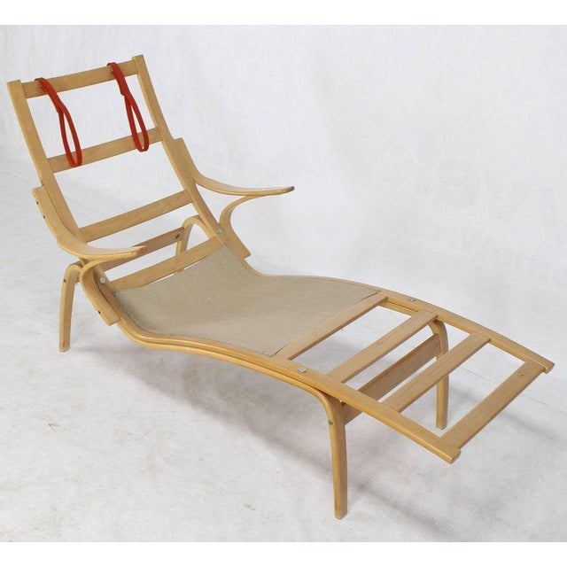 Orange Alvar Aalto Bent Wood Wool Upholstery Chaise Lounge Chair For Sale