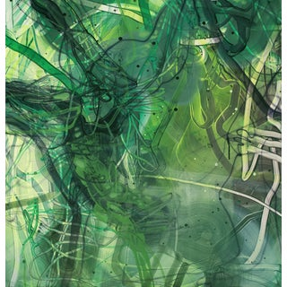 "Dana Oldfather ""Ivied Wall 1"" Green Abstract Colorful Painting on Paper For Sale"
