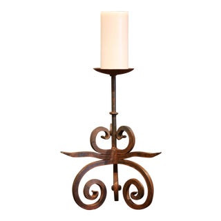 19th Century French Wrought Iron Candlestick With Wax Candle For Sale