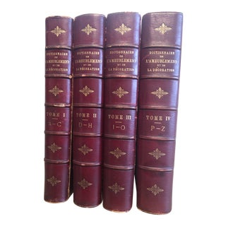 Antique Leather Books French Furniture & Decoration Set of 4, C.1887 For Sale