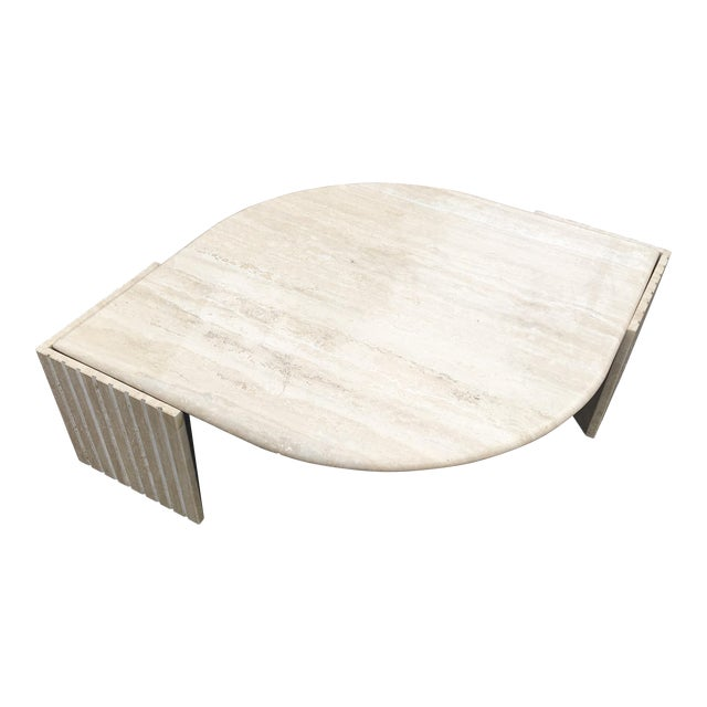 1980's Brutalist Travertine Marble Coffee Table For Sale