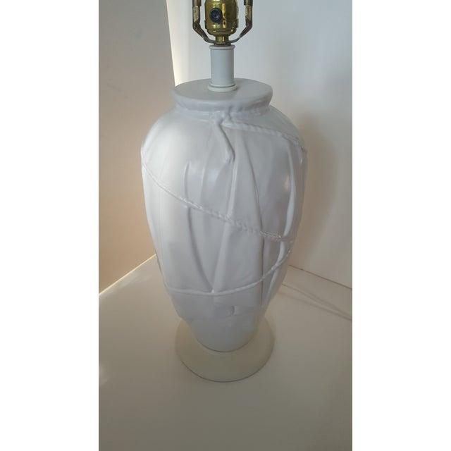 Ceramic Vintage Frederick Cooper Dorothy Draper Style White Ceramic Draped Lamp For Sale - Image 7 of 9