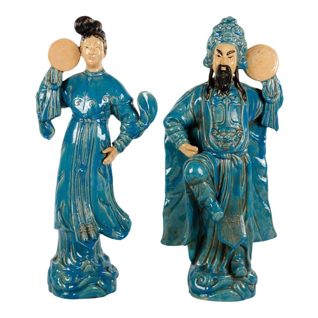 Chinese Ming Dynasty Style Male and Female Porcelain Statues - a Pair For Sale