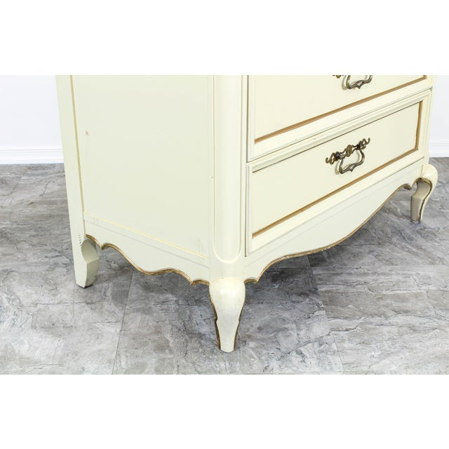 Lights Vintage Provincial Cream Highboy Chest of Drawers For Sale - Image 7 of 10