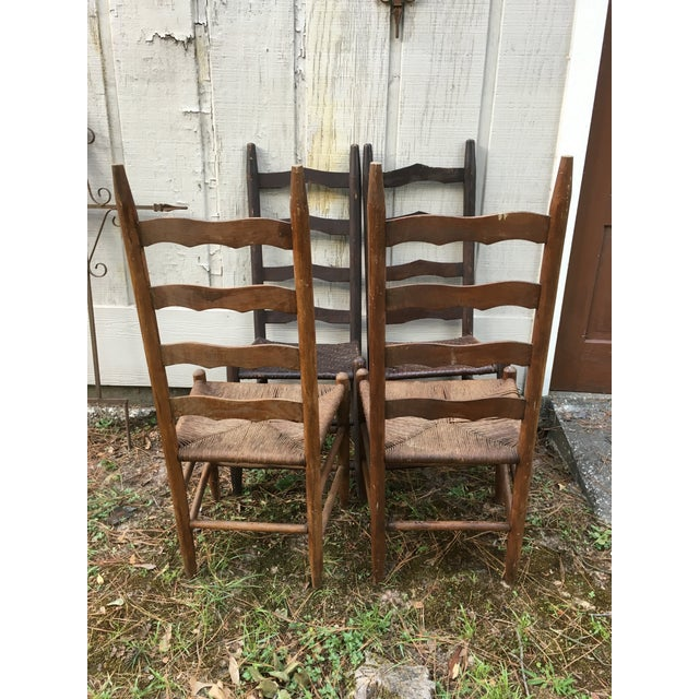 Brown Mismatched Ladder Back Country Chairs - Set of 4 For Sale - Image 8 of 12