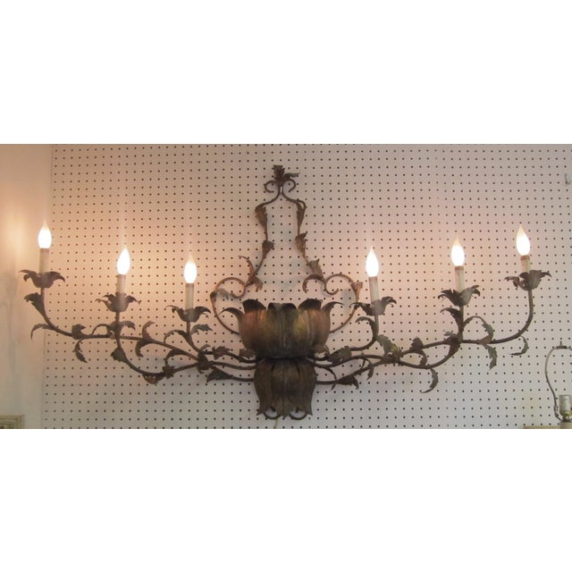 Large Brass Italian Gilded Lotus Wall Sconce - Image 3 of 6