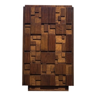 Lane Furniture Brutalist Mosaic Chifferobe Armoire For Sale
