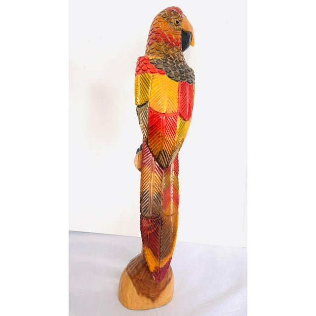 Painted Carved Wood Parrot Sculpture For Sale - Image 4 of 12