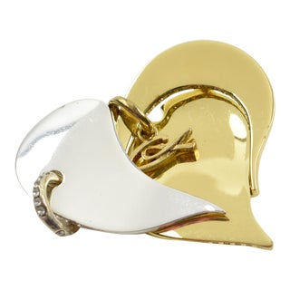 Christian Lacroix Paris Modernist Silver and Gold Heart Pin Brooch For Sale