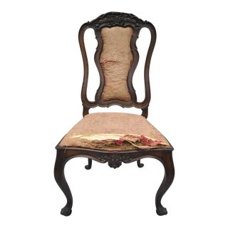 Antique Italian Baroque Carved Walnut Dining Chair For Sale