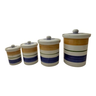 Mid Century Inspired Hand Painted Italian Canisters - Set of 4 For Sale