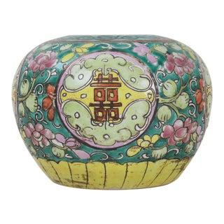 19th Century Antique Porcelain Famille Rose Melon Vase For Sale