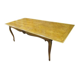 Vintage Antique French Style Dining Table With a Parquet Top For Sale