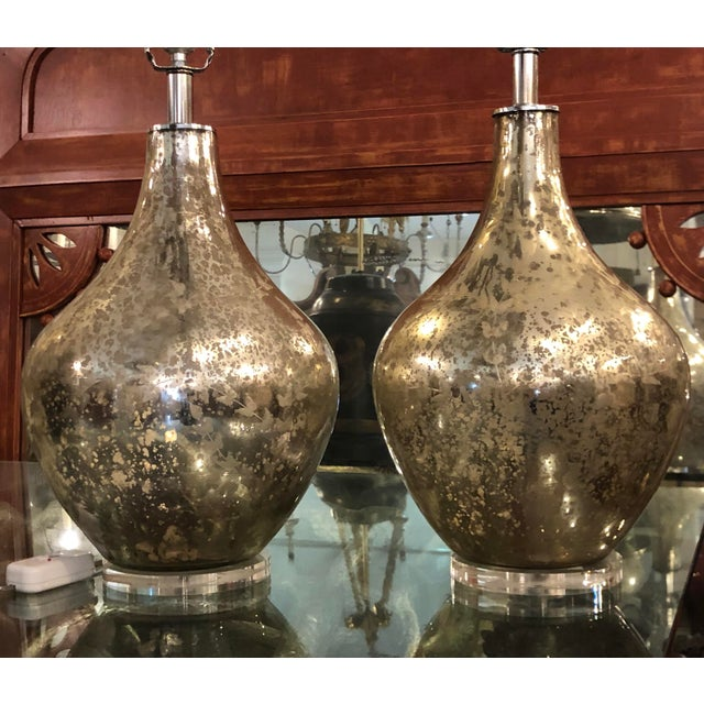 Modern Etched Mercury Glass Table Lamps by Randy Esada Designs - a Pair For Sale - Image 3 of 5