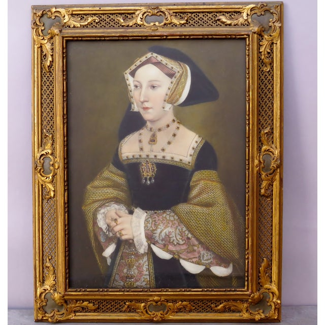 Wood Renaissance Decorative Period Framed Portrait Print of Jane Seymour, Wife of Henry VIII For Sale - Image 7 of 7