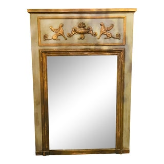 French Carved and Painted Trumeau Mirror For Sale