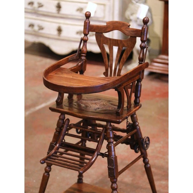 Art Deco Mid-20th Century French Carved Folding Up and Down Child High Chair on Wheels For Sale - Image 3 of 13