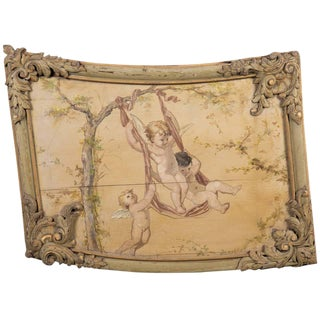 19th Century Louis XV Style Boiserie Panel with Oil Painting For Sale