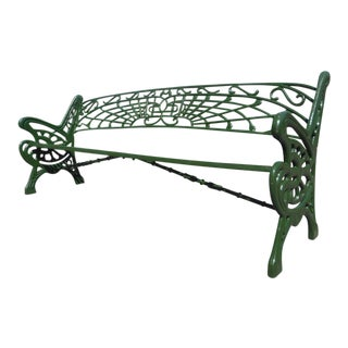 Long Cast Iron Sculpted Bench For Sale