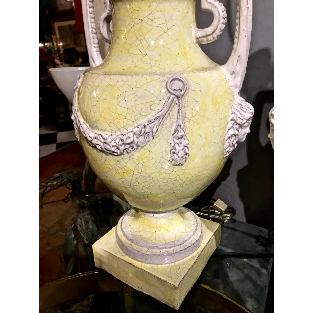 Ceramic Italian Majolica Urn Lamps in Pale Yellow, C. 1960s - a Pair For Sale - Image 7 of 11