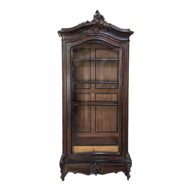 19th Century French Louis XV Rosewood Display Armoire ~ Bookcase For Sale