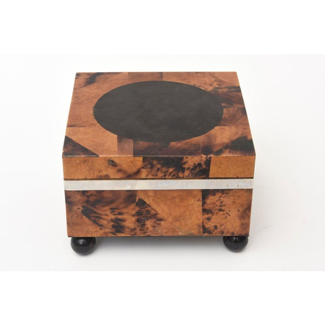 Wood Maitland Smith Tessellated Tortoise Shell, Wood and Chrome Hinged Box For Sale - Image 7 of 10