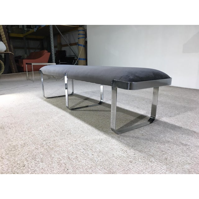 TriMark TriMark Designs Milo Baughman Style Chrome Long Bench For Sale - Image 4 of 4