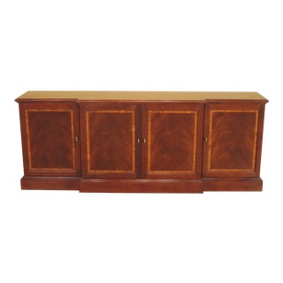 1990s Traditional Stickley Banded Front 4-Door Mahogany Sideboard Buffet For Sale