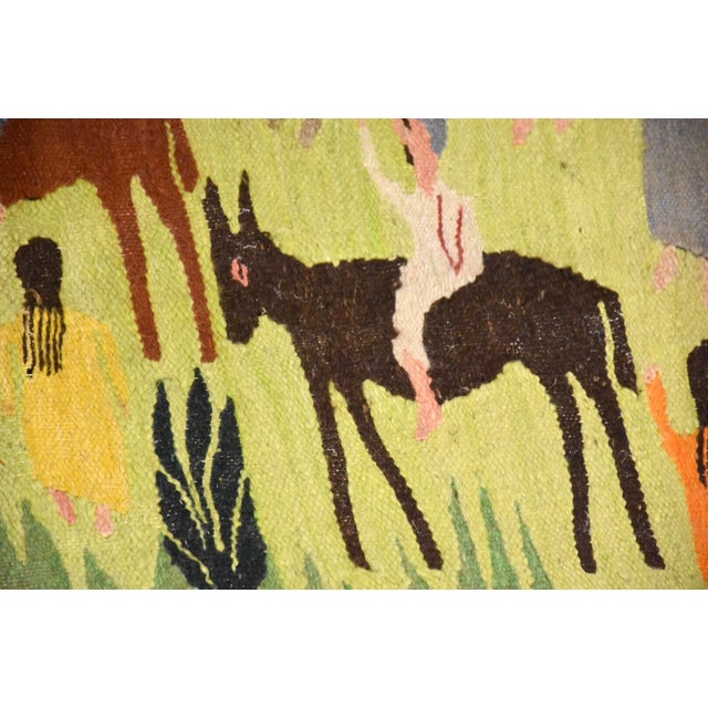 Textile Handmade Wool Kilim Tapestry Rug For Sale - Image 7 of 10