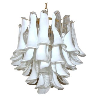 1960s Hollywood Regency Mazzega Murano Clear and White Petal Chandelier For Sale