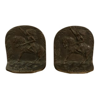 Antique Solid Bronze Native American Indian Horse Protest Art Sculpture Bookends - a Pair For Sale
