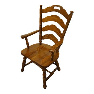 Virginia House Oak Rustic Country Style Ladderback Dining Arm Chair For Sale