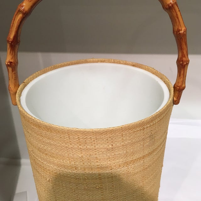 Raffia Wrapped Ice Bucket With Bamboo Handle For Sale - Image 4 of 7