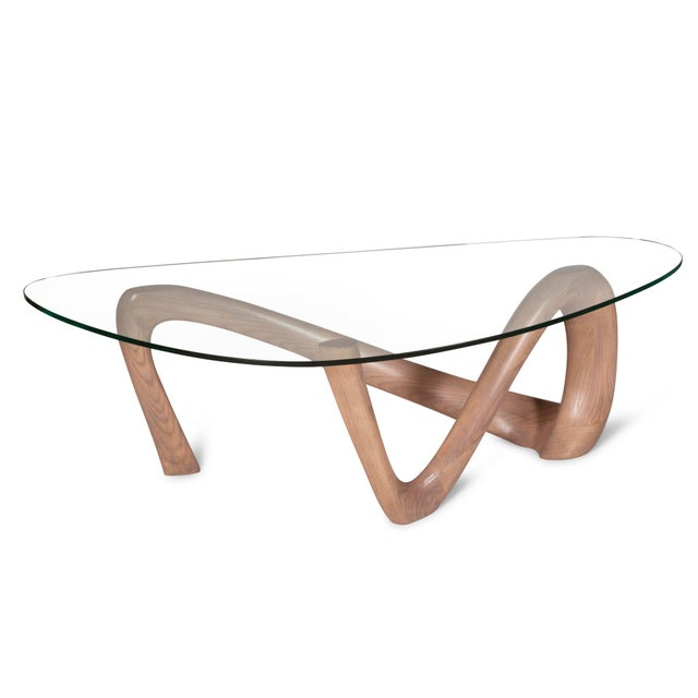 Amorph Iris Gray Oak Stained Coffee Table With Glass Top For Sale - Image 12 of 13