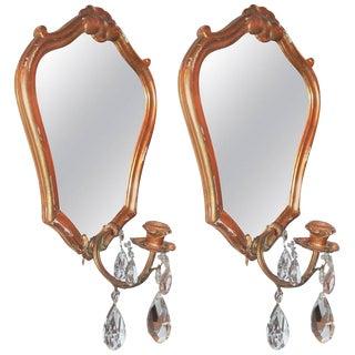 Giltwood French Mirrored Girandoles - A Pair