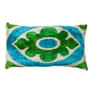 Vintage Large Rectangle Flower Light Blue/Silver/Bright Green Silk Velvet Ikat Pillow For Sale